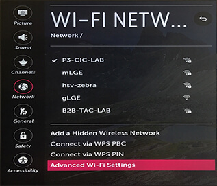 LG Smart TV webOS - Advanced Wi-Fi Settings